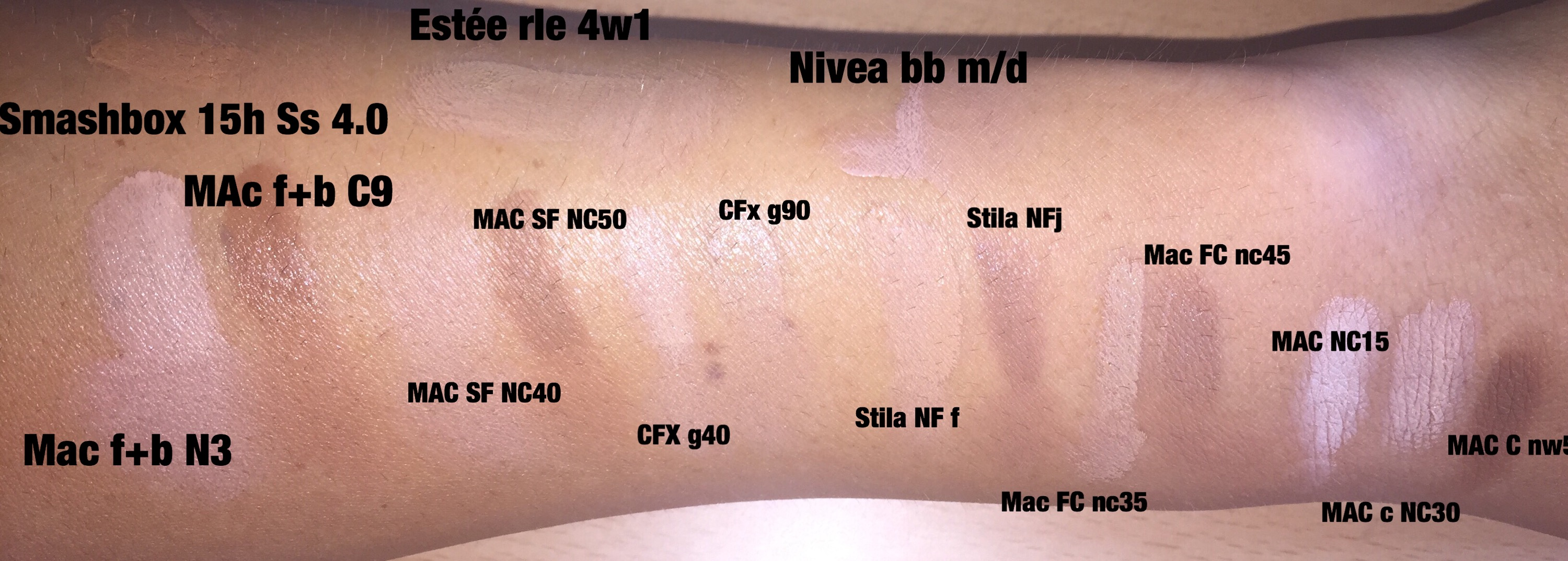 mac foundation swatches comparison